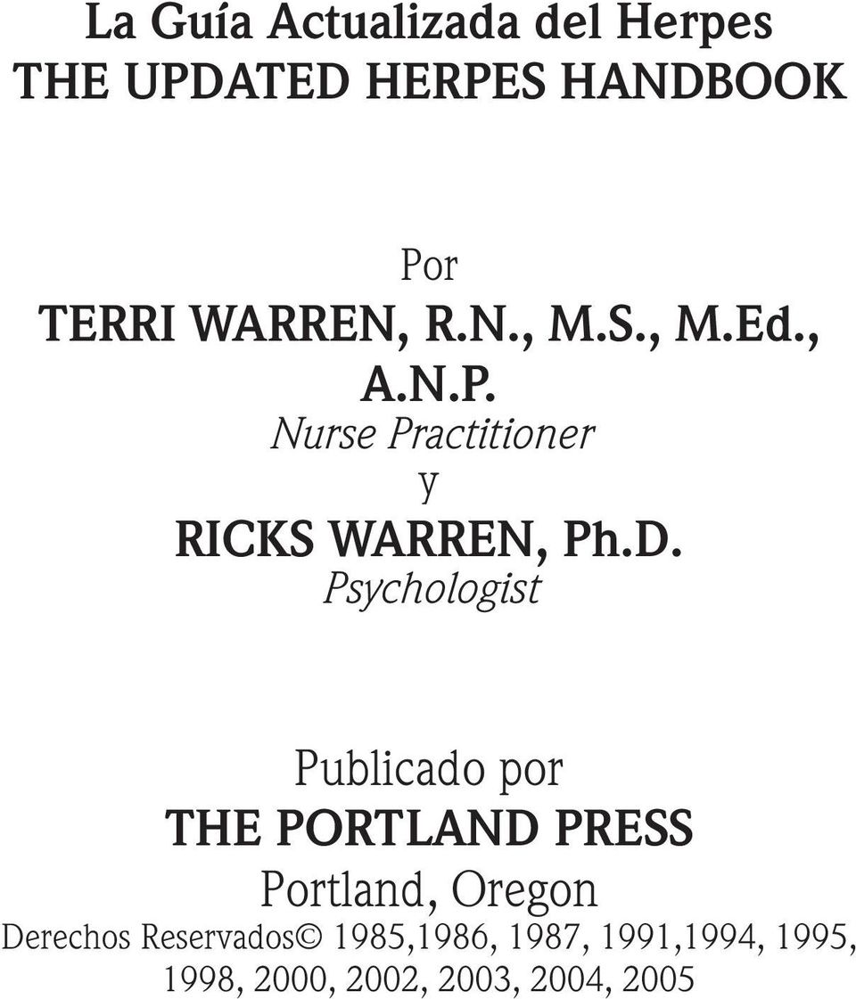 Psychologist Publicado por THE PORTLAND PRESS Portland, Oregon Derechos
