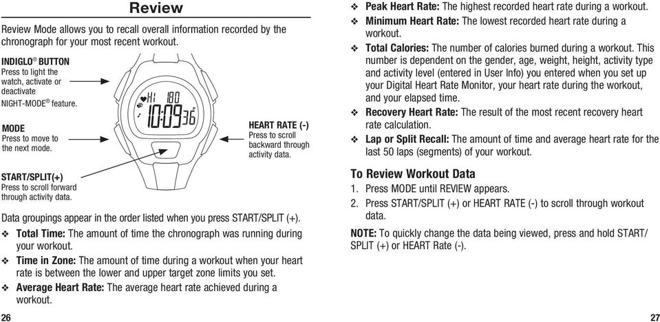 HEART RATE (-) Press to scroll backward through activity data. Data groupings appear in the order listed when you press START/SPLIT (+).