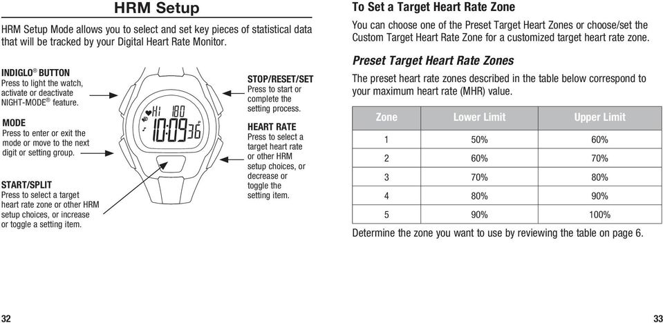 START/SPLIT Press to select a target heart rate zone or other HRM setup choices, or increase or toggle a setting item. STOP/RESET/SET Press to start or complete the setting process.
