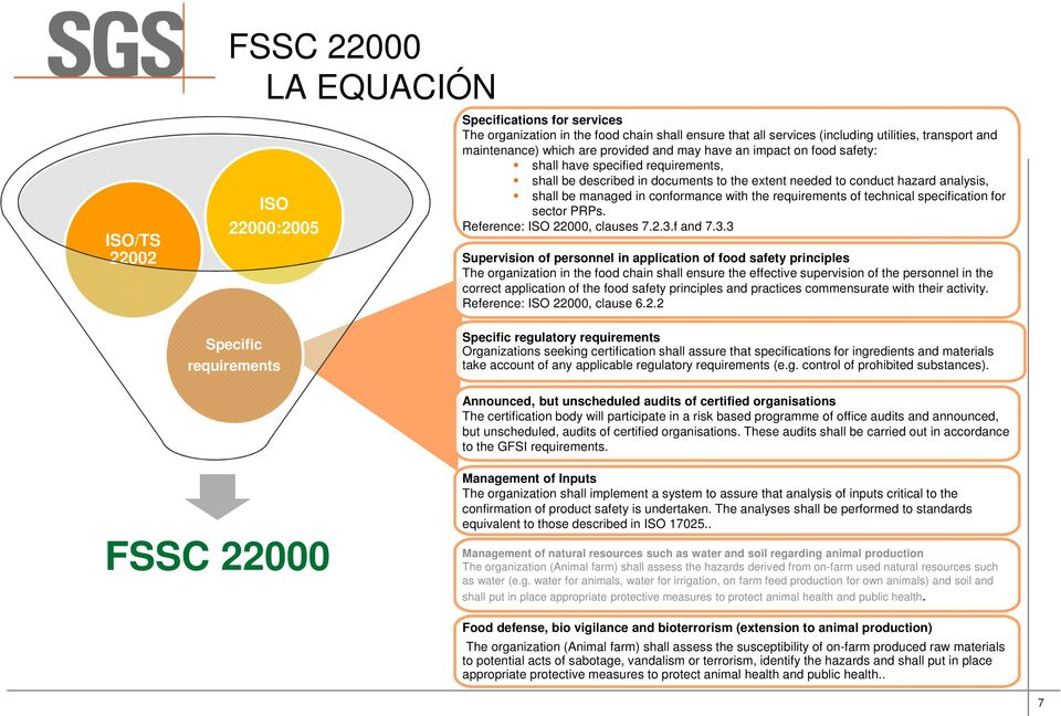 with the requirements of technical specification for sector PRPs. Reference: ISO 22000, clauses 7.2.3.
