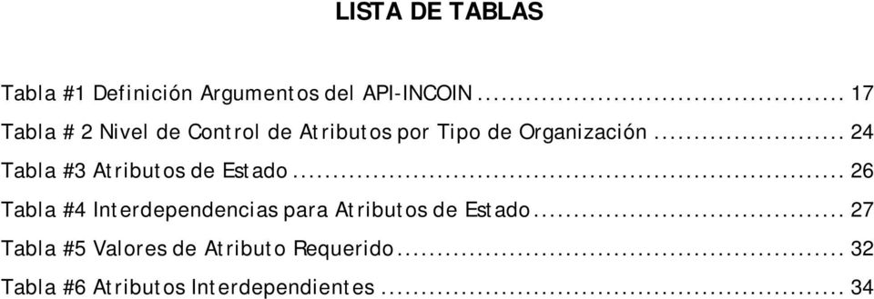 .. 24 Tabla #3 Atributos de Estado.