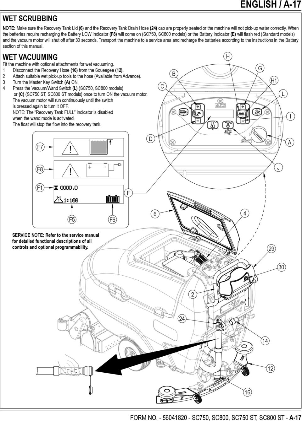 off after 30 seconds. Transport the machine to a service area and recharge the batteries according to the instructions in the Battery section of this manual.