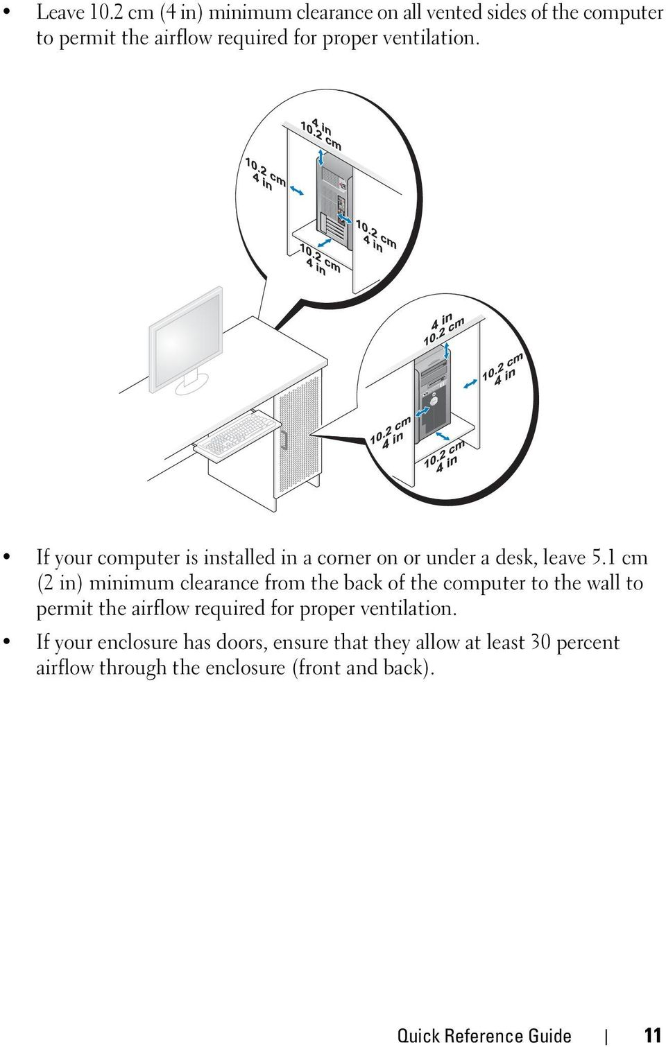 ventilation. If your computer is installed in a corner on or under a desk, leave 5.