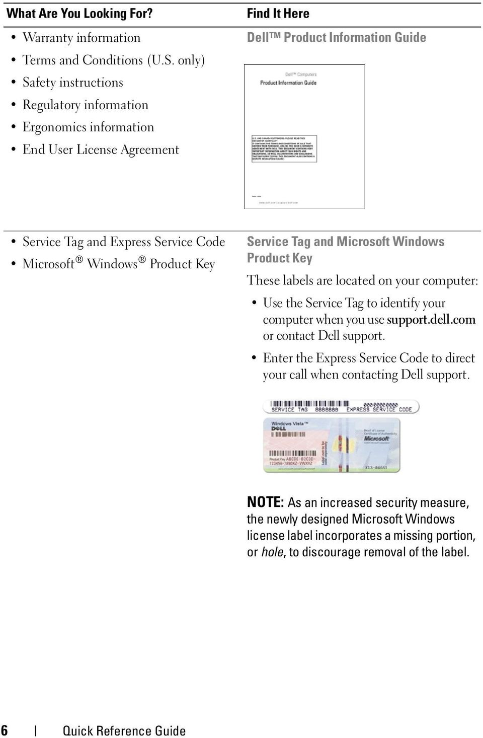 Microsoft Windows Product Key Service Tag and Microsoft Windows Product Key These labels are located on your computer: Use the Service Tag to identify your computer when you use support.