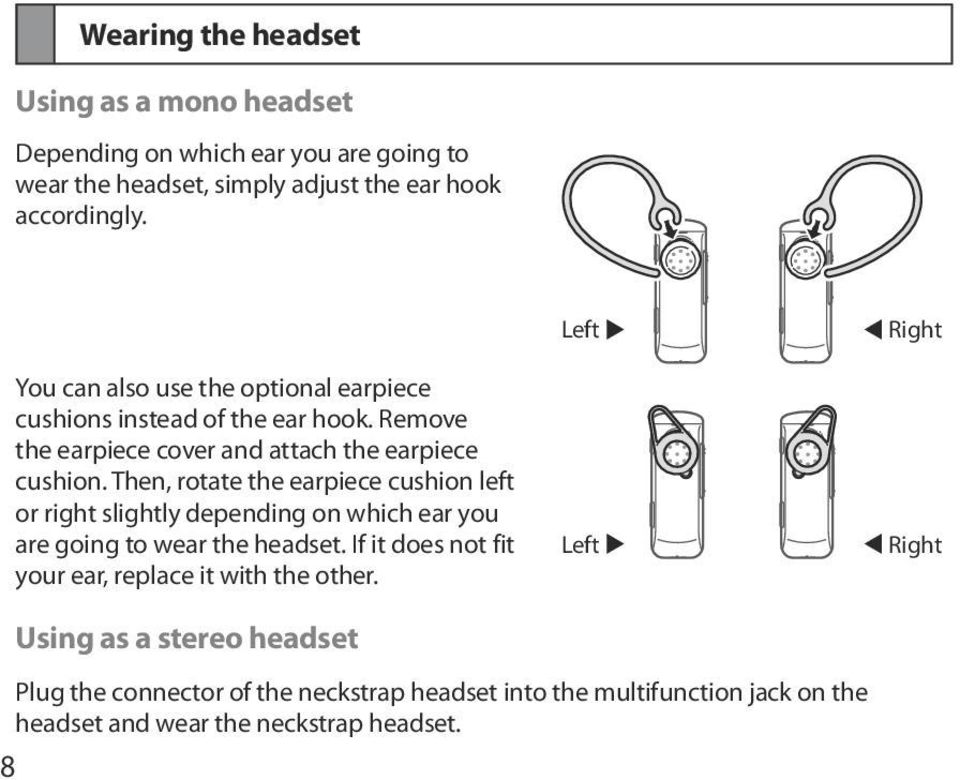 Then, rotate the earpiece cushion left or right slightly depending on which ear you are going to wear the headset.