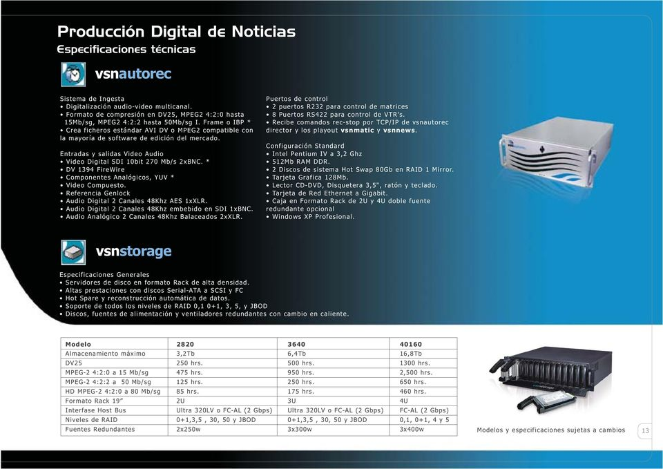 Entradas y salidas Video Audio Video Digital SDI 10bit 270 Mb/s 2xBNC. * DV 1394 FireWire Componentes Analógicos, YUV * Video Compuesto. Referencia Genlock Audio Digital 2 Canales 48Khz AES 1xXLR.