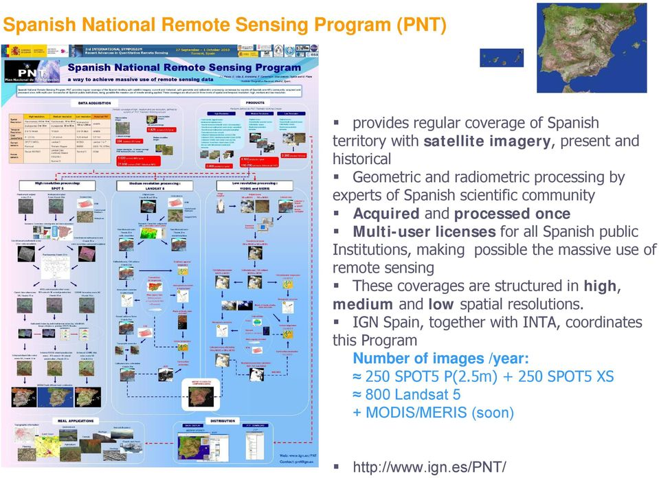Institutions, making possible the massive use of remote sensing These coverages are structured in high, medium and low spatial resolutions.