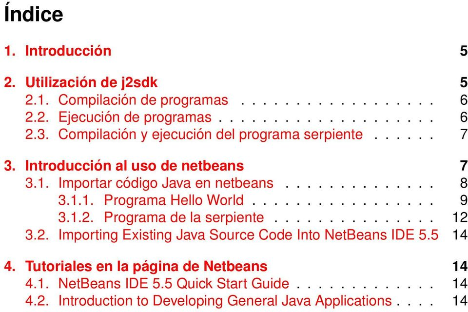 ................ 9 3.1.2. Programa de la serpiente............... 12 3.2. Importing Existing Java Source Code Into NetBeans IDE 5.5 14 4.