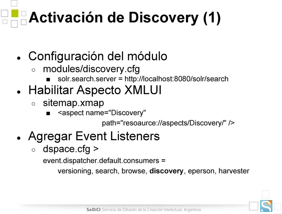 "xmap <aspect name=""discovery"" path=""resoaurce://aspects/discovery/"" /> Agregar Event"
