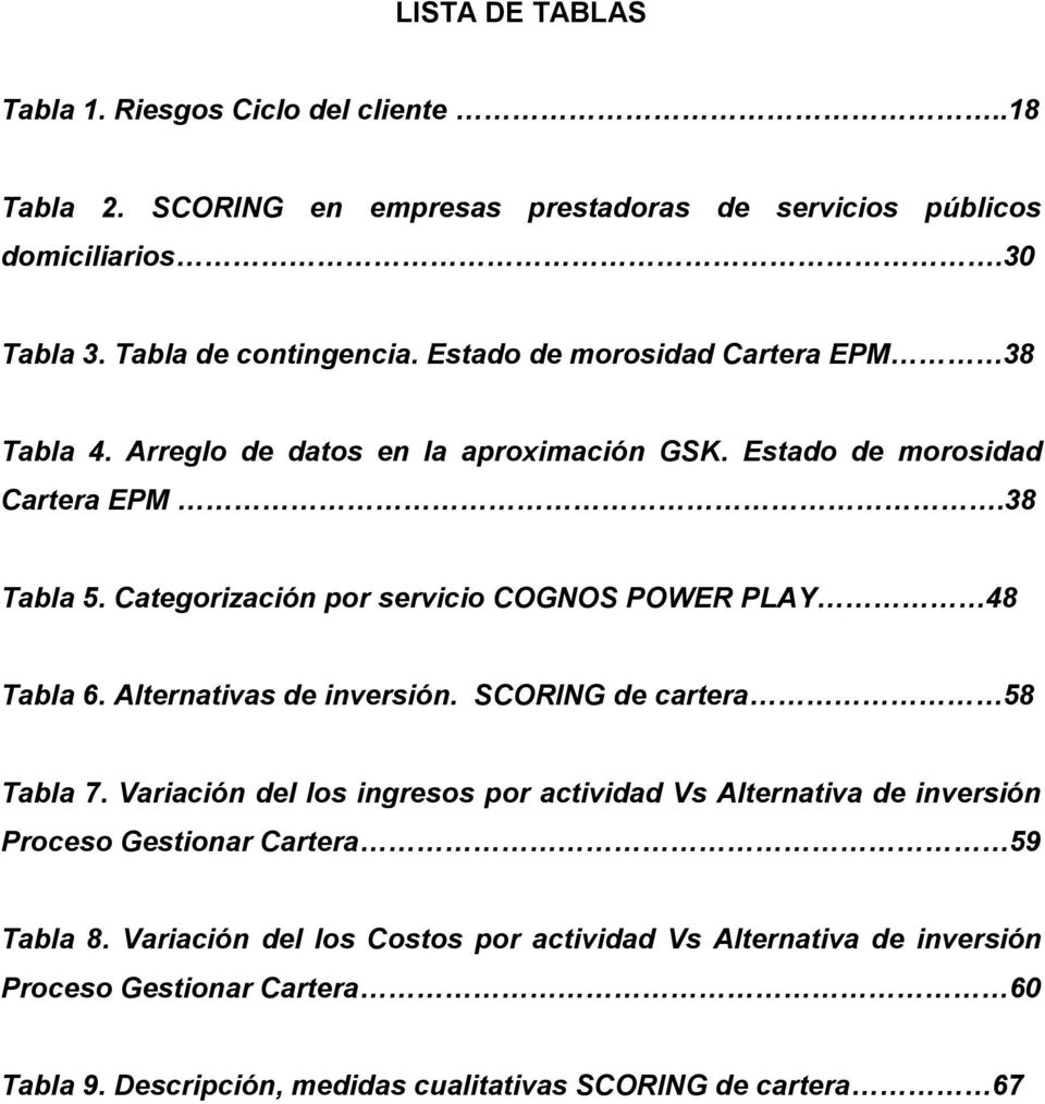 Categorización por servicio COGNOS POWER PLAY 48 Tabla 6. Alternativas de inversión. SCORING de cartera 58 Tabla 7.