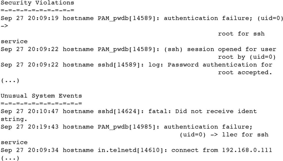 root accepted. (...) Unusual System Events =-=-=-=-=-=-=-=-=-=-= Sep 27 20:10:47 hostname sshd[14624]: fatal: Did not receive ident string.