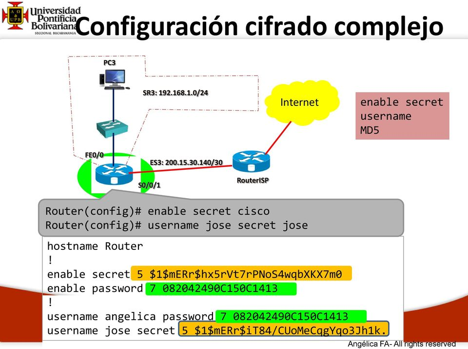 140/30 S0/0/1 RouterISP Router(config)# enable secret cisco Router(config)# username jose secret jose