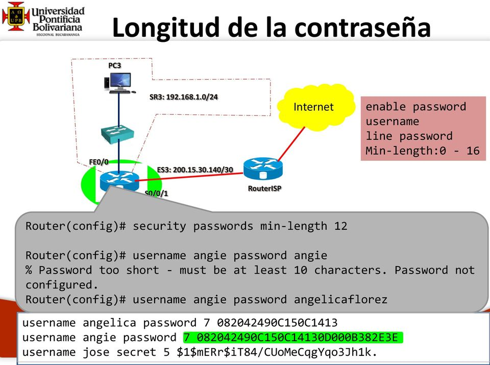 Router(config)# username angie password angie % Password too short - must be at least 10 characters. Password not configured.