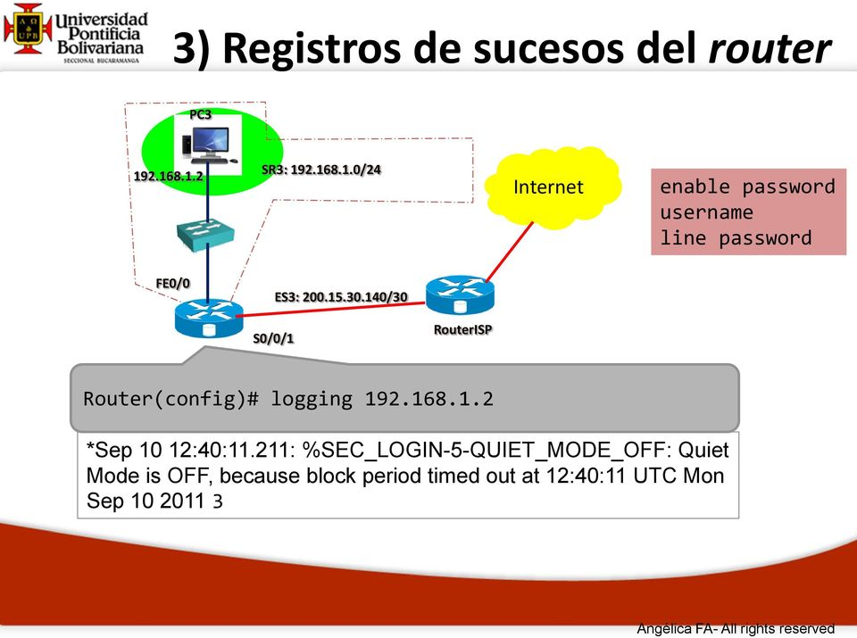 15.30.140/30 S0/0/1 RouterISP Router(config)# logging 192.168.1.2 *Sep 10 12:40:11.