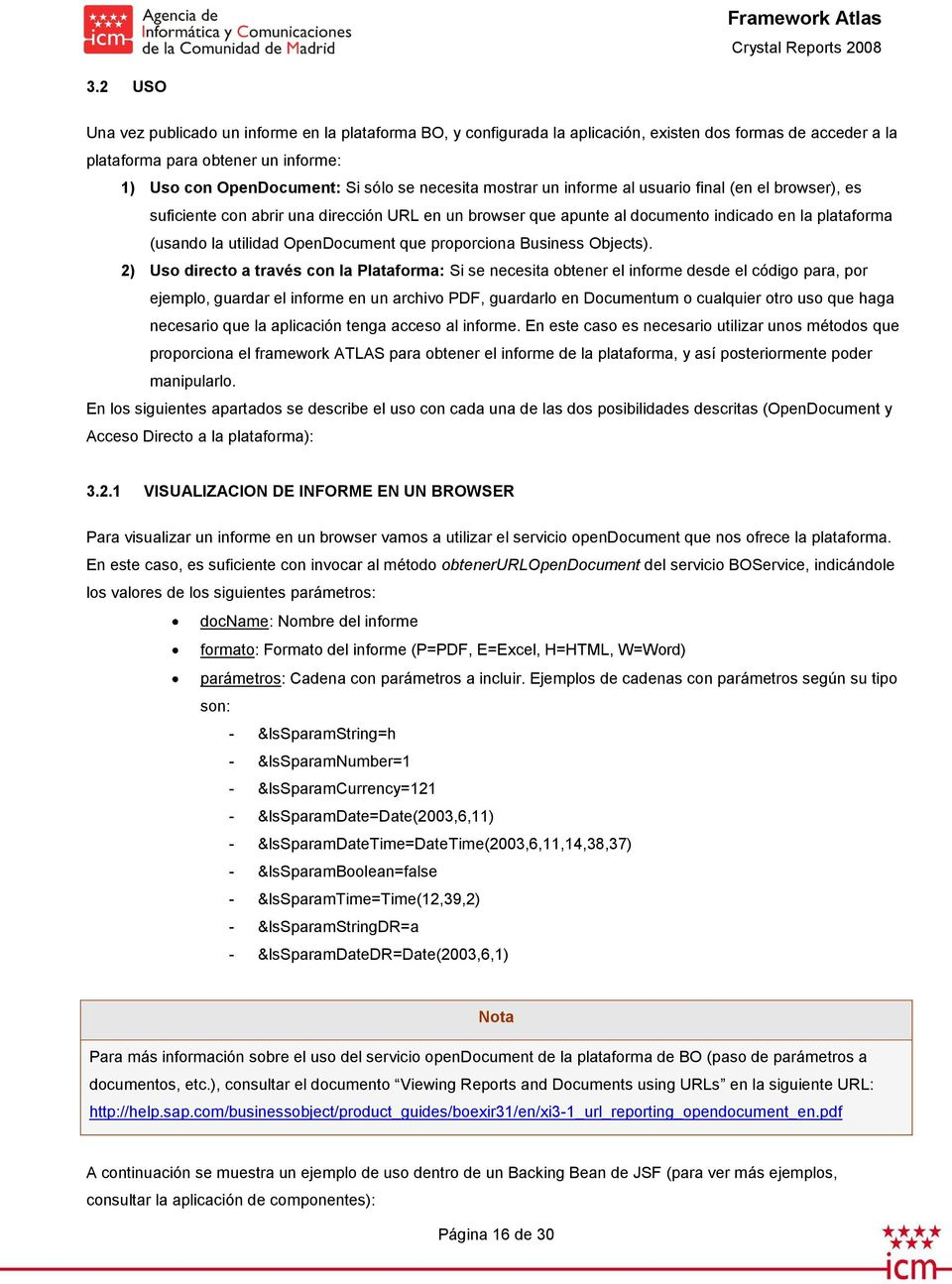 OpenDocument que proporciona Business Objects).