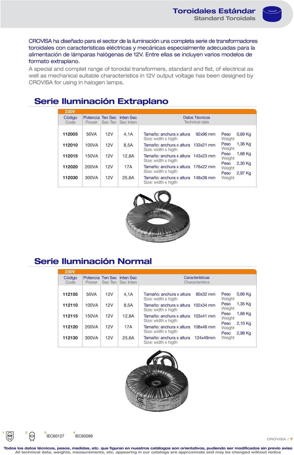 A special and complet range of toroidal transformers, standard and flat, of electrical as well as mechanical suitable characteristics in 12V output voltage has been designed by CROVISA for using in