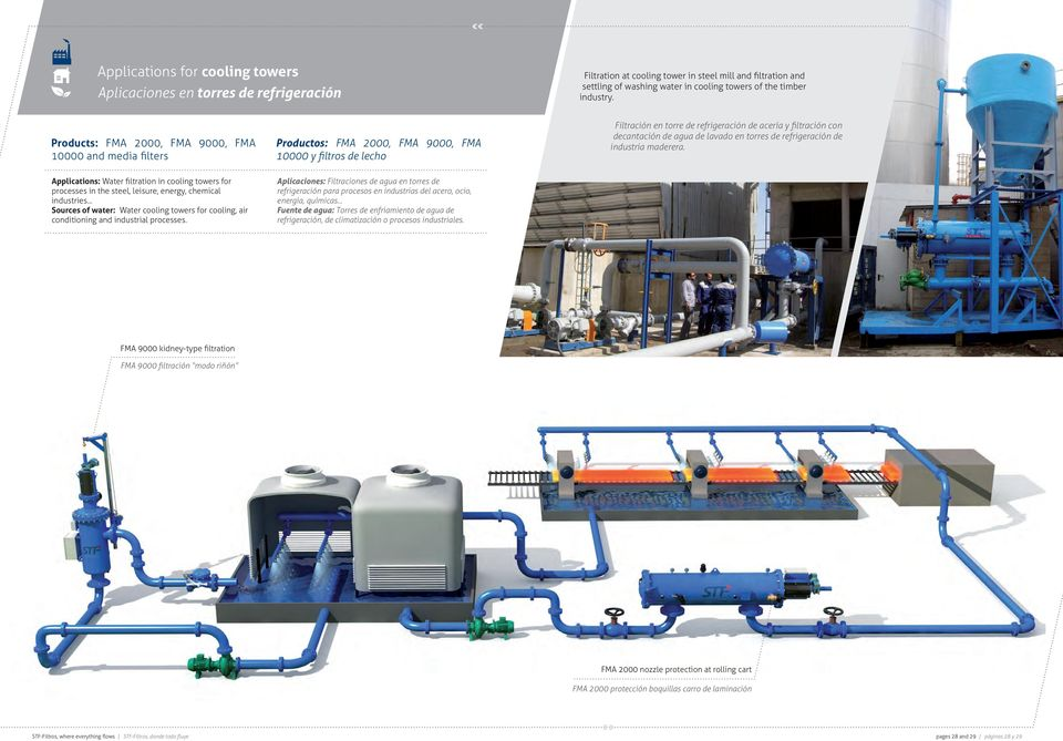 agua de lavado en torres de refrigeración de industria maderera. Applications: Water filtration in cooling towers for processes in the steel, leisure, energy, chemical industries.