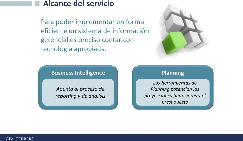 Business Intelligence Apunta al proceso de reporting y de análisis Planning