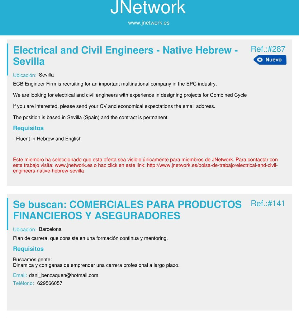 The position is based in Sevilla (Spain) and the contract is permanent.