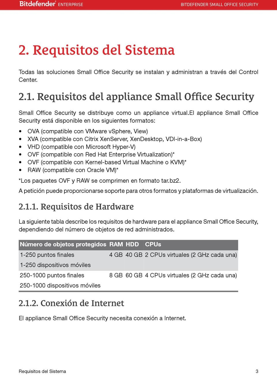 el appliance Small Office Security está disponible en los siguientes formatos: OVA (compatible con VMware vsphere, View) XVA (compatible con Citrix XenServer, XenDesktop, VDI-in-a-Box) VHD