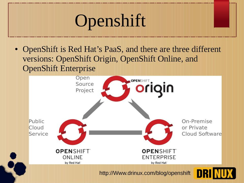 different versions: OpenShift