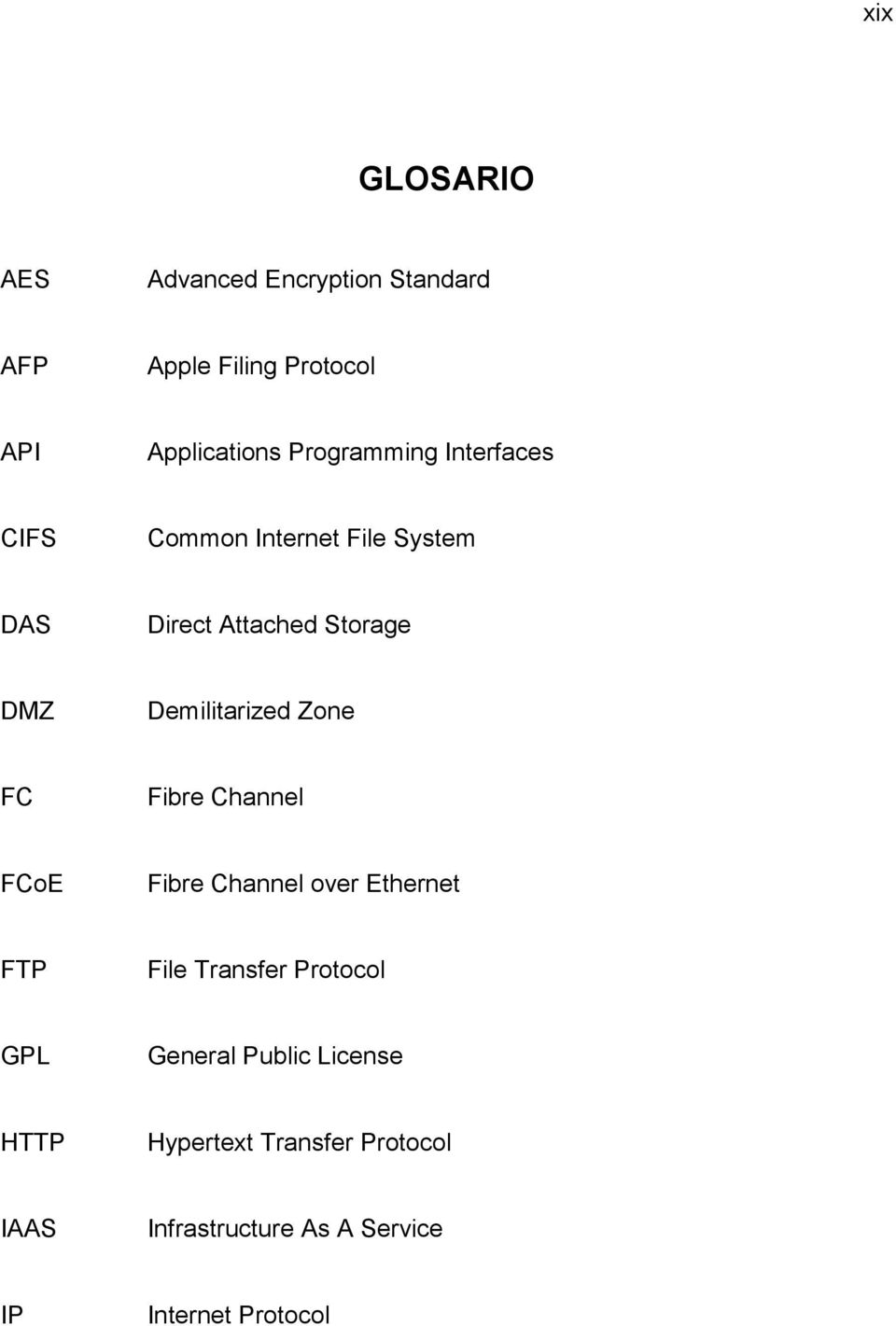Demilitarized Zone FC Fibre Channel FCoE Fibre Channel over Ethernet FTP File Transfer Protocol
