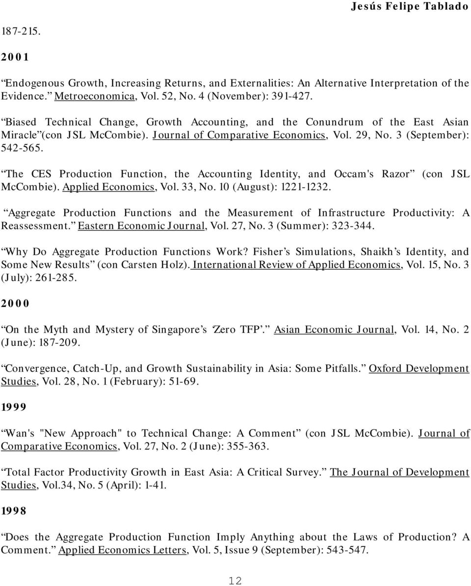 The CES Production Function, the Accounting Identity, and Occam's Razor (con JSL McCombie). Applied Economics, Vol. 33, No. 10 (August): 1221-1232.