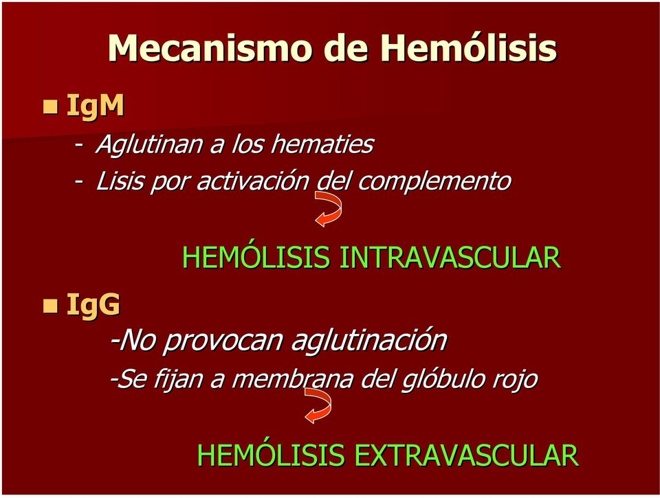 HEMÓLISIS INTRAVASCULAR IgG No provocan