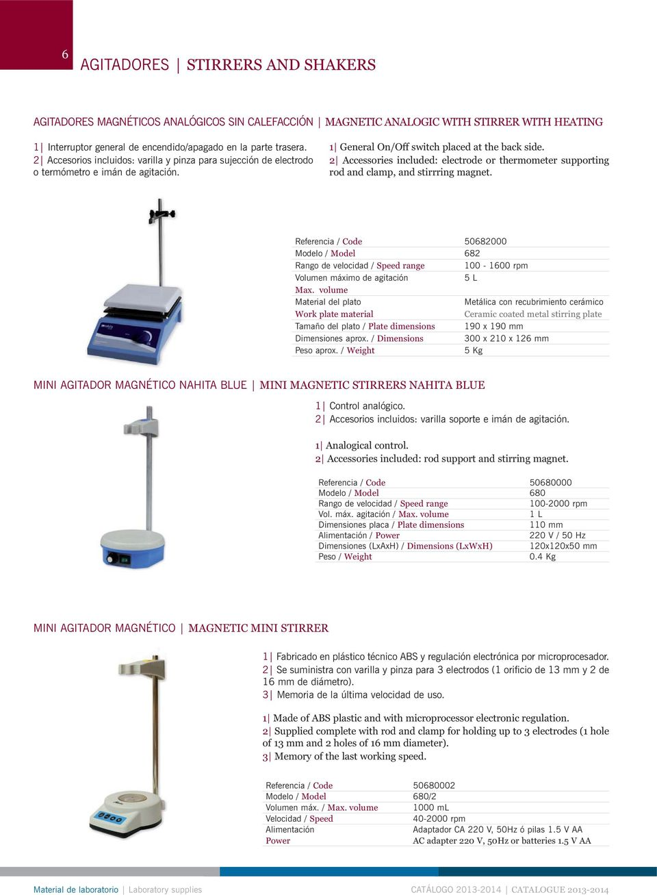 2 Accessories included: electrode or thermometer supporting rod and clamp, and stirrring magnet.