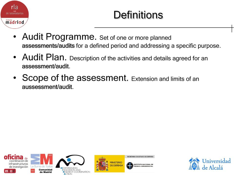 addressing a specific purpose. Audit Plan.