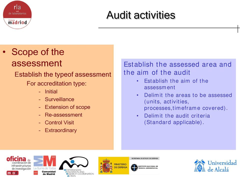assessed area and the aim of the audit Establish the aim of the assessment Delimit the areas to be