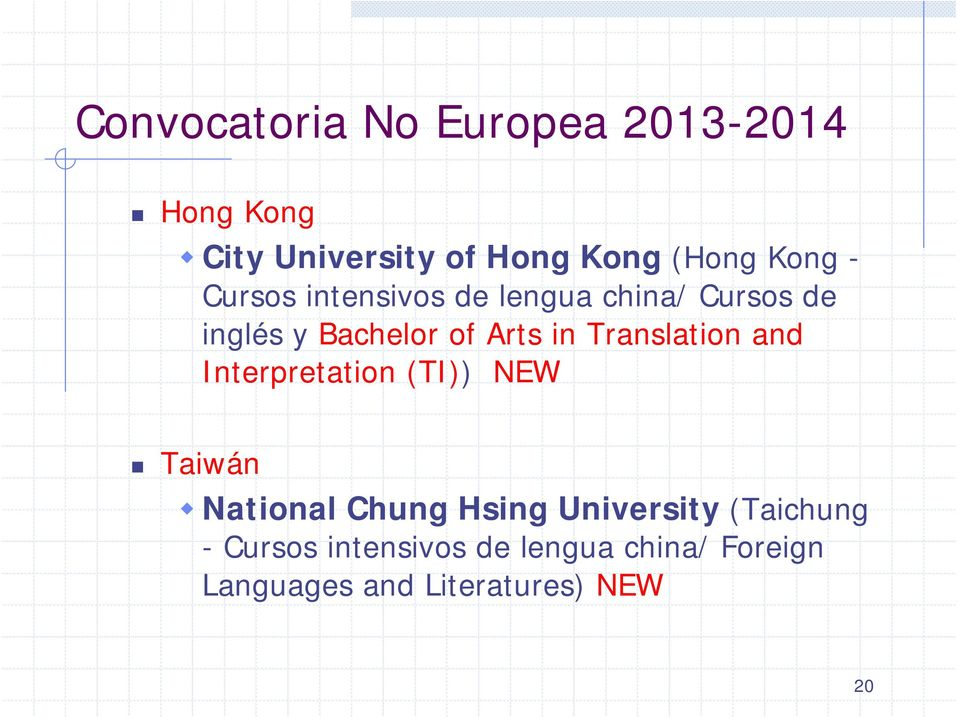 Translation and Interpretation (TI)) NEW Taiwán National Chung Hsing University