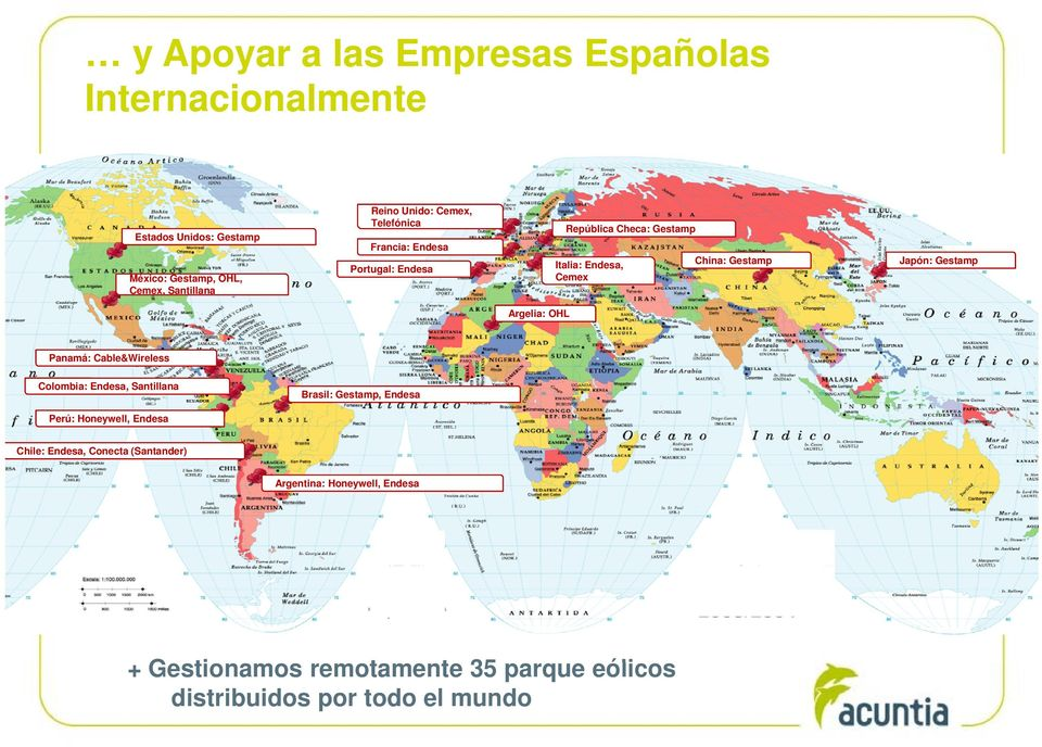 Gestamp Argelia: OHL Panamá: Cable&Wireless Colombia: Endesa, Santillana Brasil: Gestamp, Endesa Perú: Honeywell, Endesa Chile: