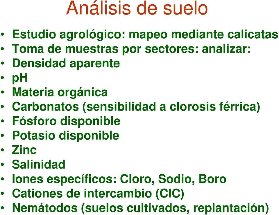 clorosis férrica) Fósforo disponible Potasio disponible Zinc Salinidad Iones