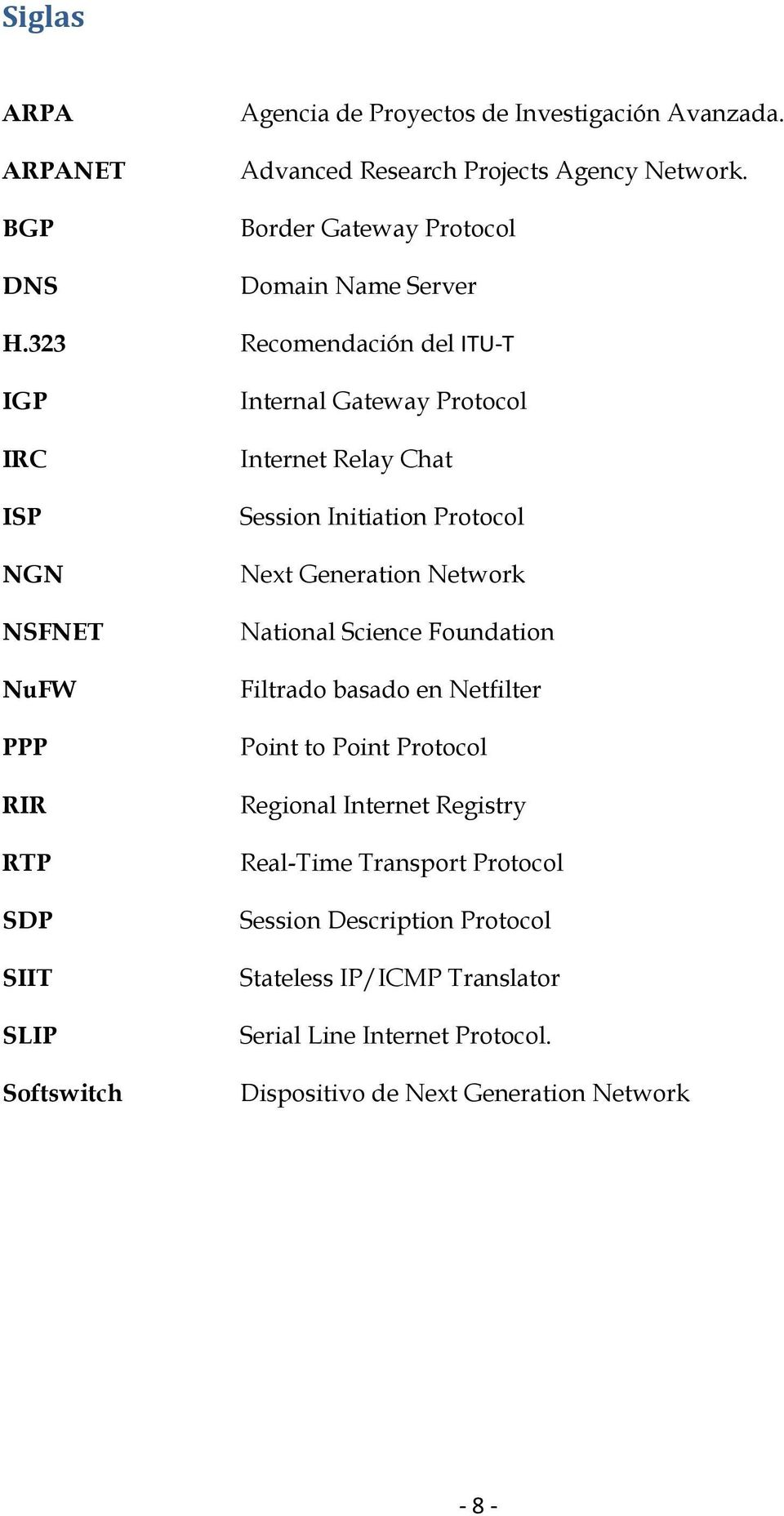 323 Recomendación del ITU-T IGP IRC ISP NGN NSFNET NuFW PPP RIR RTP SDP SIIT SLIP Softswitch Internal Gateway Protocol Internet Relay Chat Session