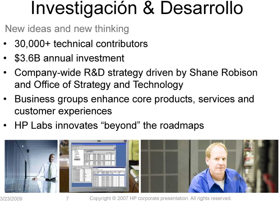 and Technology Business groups enhance core products, services and customer experiences HP Labs