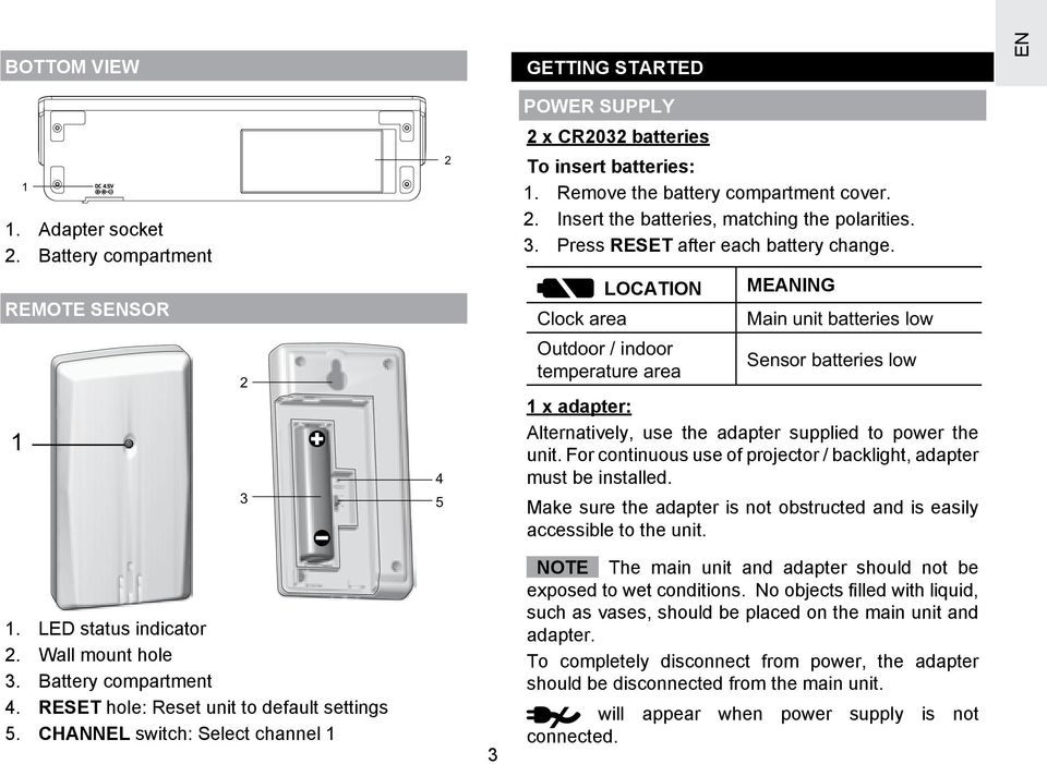 LOCATION Clock area Outdoor / indoor temperature area MEANING Main unit batteries low Sensor batteries low 1 x adapter: Alternatively, use the adapter supplied to power the unit.