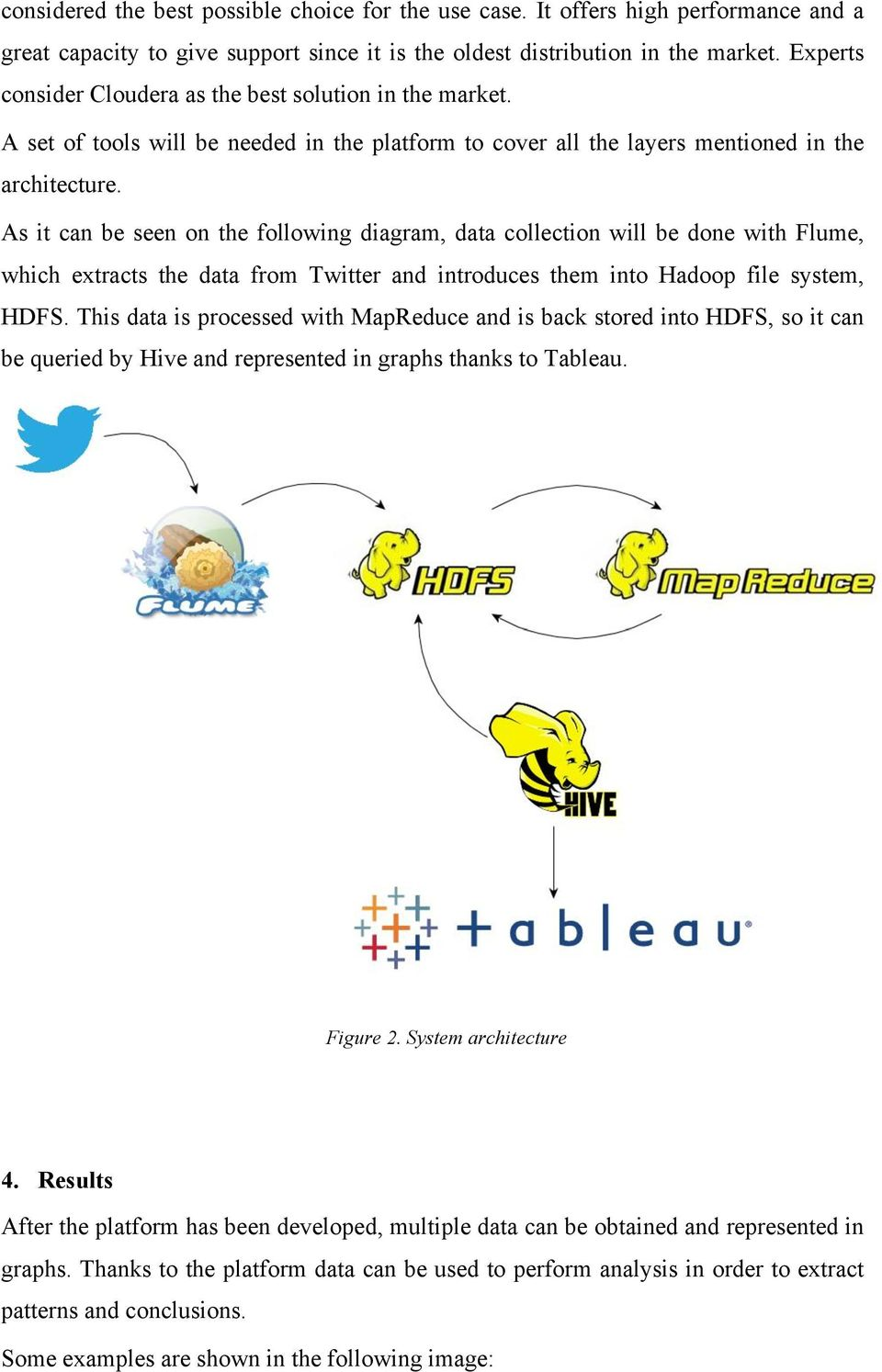 As it can be seen on the following diagram, data collection will be done with Flume, which extracts the data from Twitter and introduces them into Hadoop file system, HDFS.