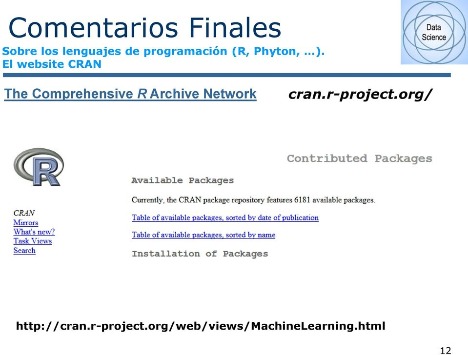 El website CRAN The Comprehensive R Archive