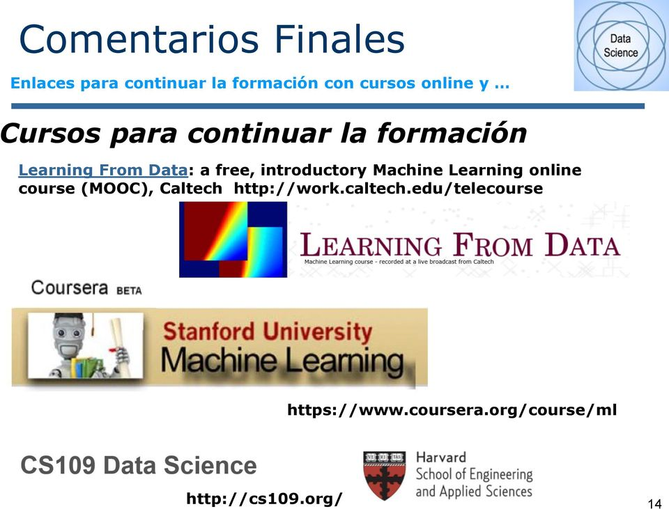 Machine Learning online course (MOOC), Caltech http://work.caltech.