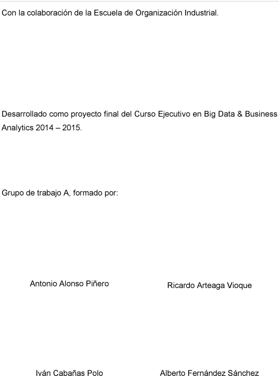 Business Analytics 2014 2015.