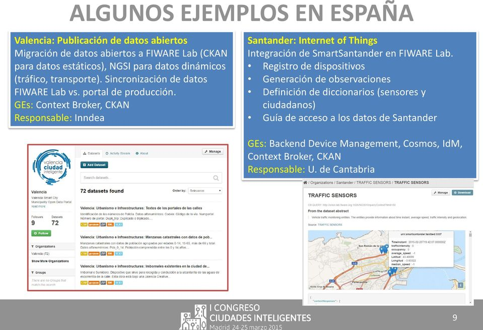 GEs: Context Broker, CKAN Responsable: Inndea Santander: Internet of Things Integración de SmartSantander en FIWARE Lab.