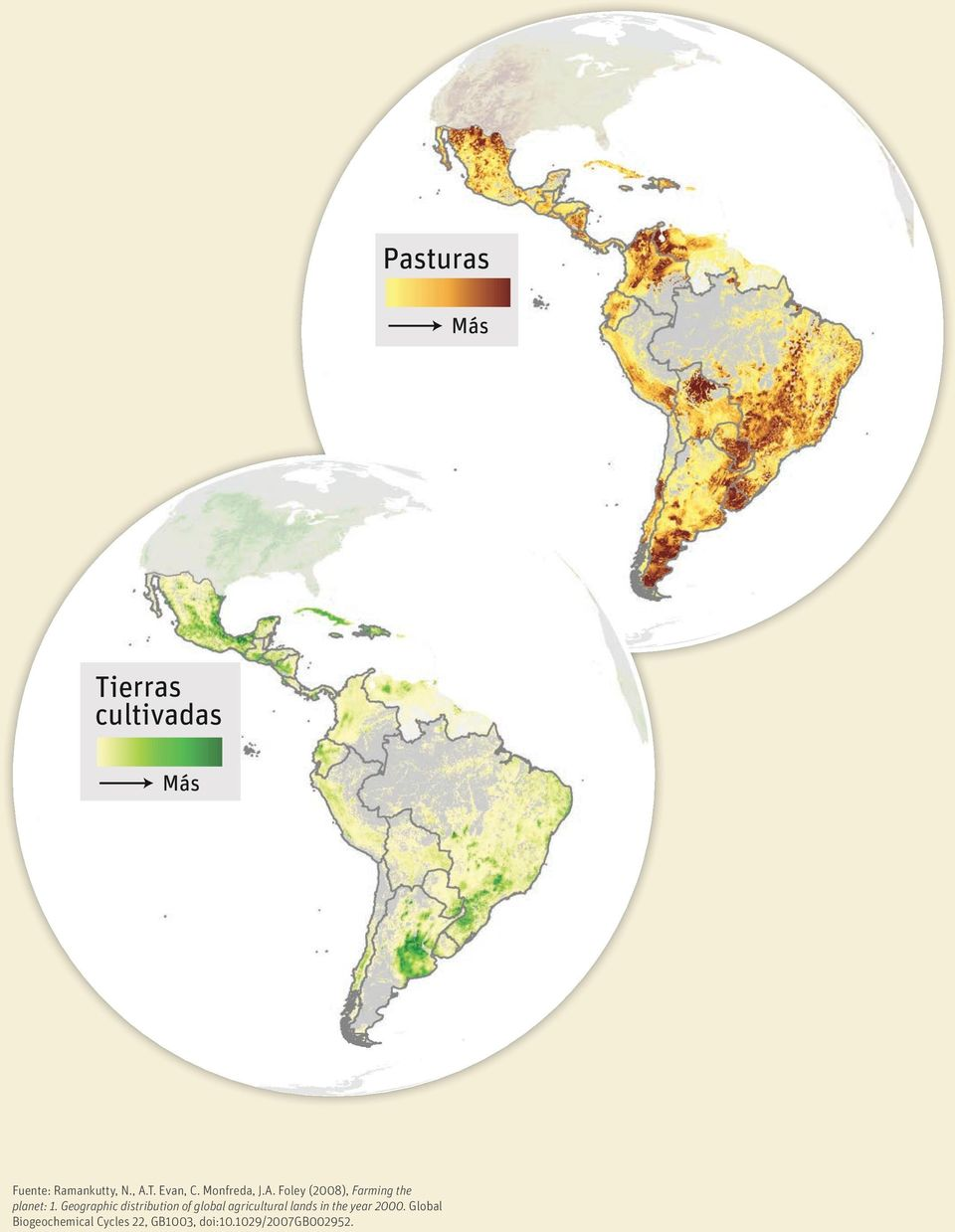 Geographic distribution of global agricultural lands in the year