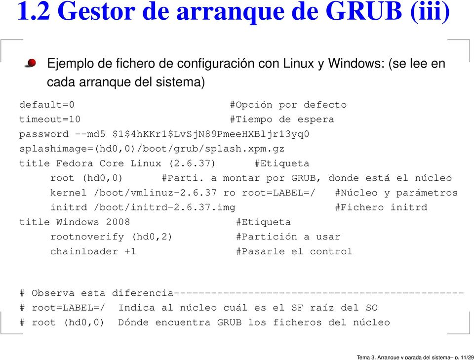 --md5 $1$4hKKr1$LvSjN89PmeeHXBljr13yq0 splashimage=(hd0,0)/boot/grub/splash.xpm.gz title Fedora Core Linux (2.6.37) #Etiqueta root (hd0,0) #Parti.