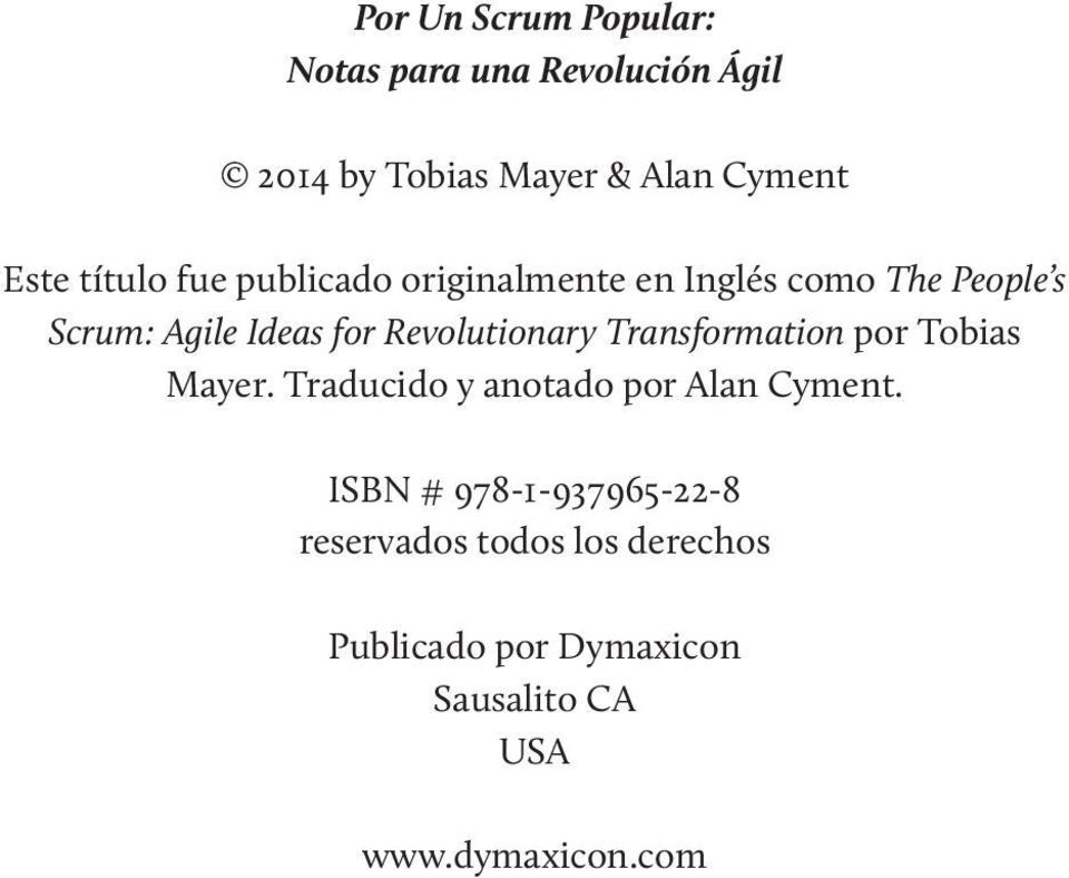 Revolutionary Transformation por Tobias Mayer. Traducido y anotado por Alan Cyment.