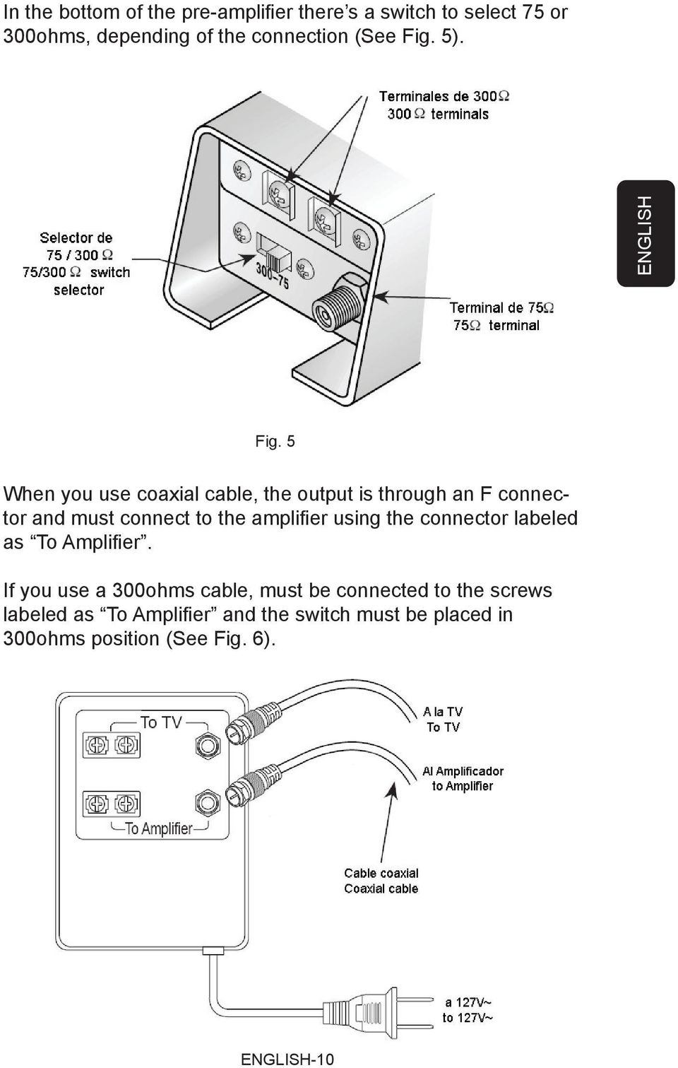 5 When you use coaxial cable, the output is through an F connector and must connect to the amplifi er using