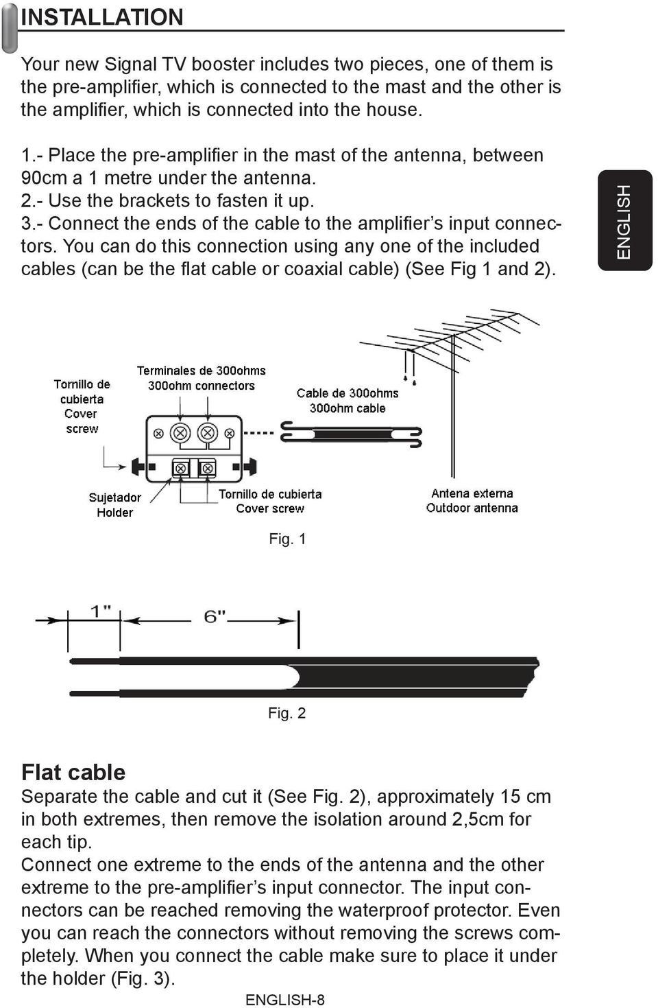 - Connect the ends of the cable to the amplifi er s input connectors. You can do this connection using any one of the included cables (can be the fl at cable or coaxial cable) (See Fig 1 and 2).