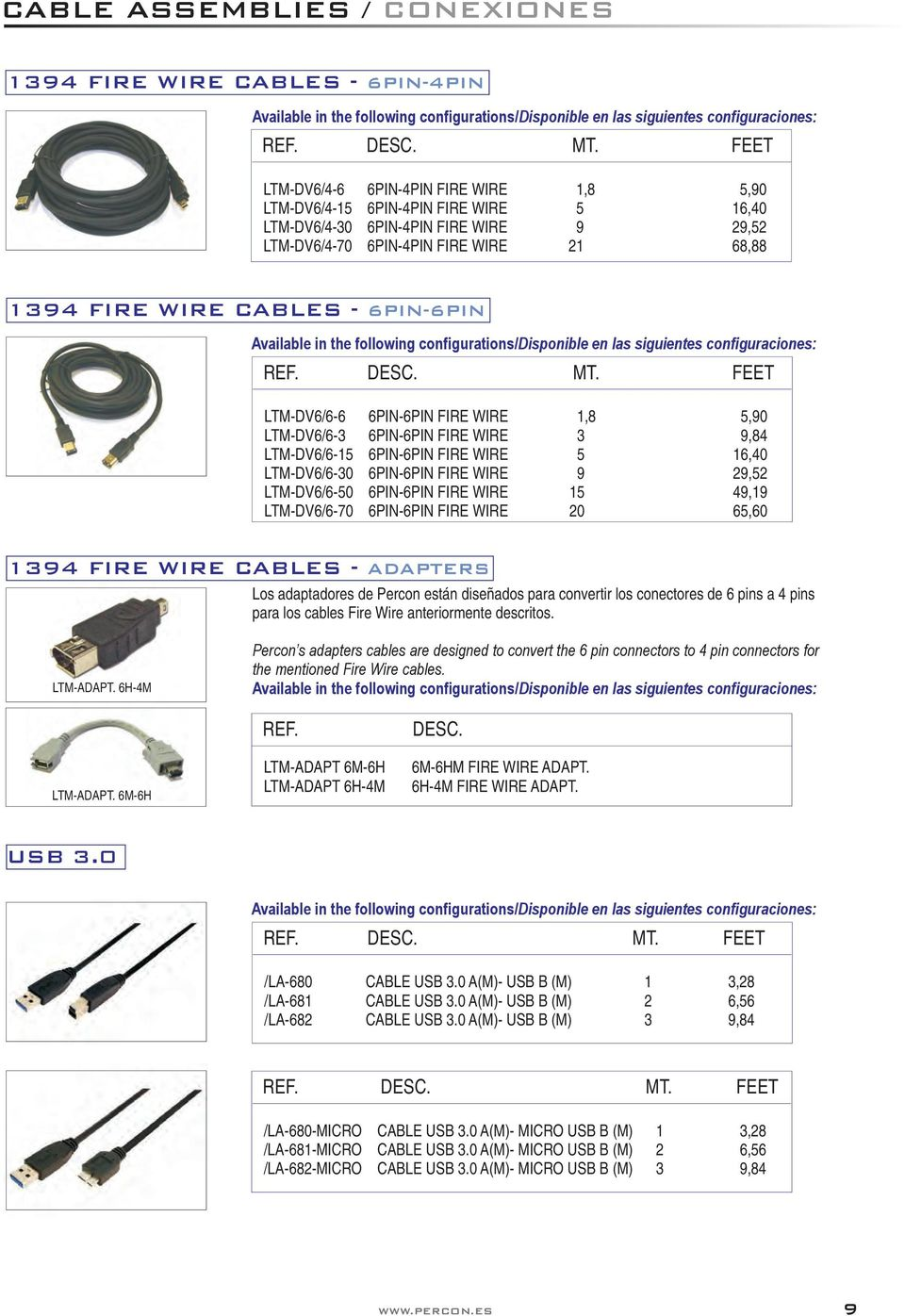 configurations/disponible en las siguientes configuraciones: LTM-DV6/6-6 6PIN-6PIN FIRE WIRE 1,8 5,90 LTM-DV6/6-3 6PIN-6PIN FIRE WIRE 3 9,84 LTM-DV6/6-15 6PIN-6PIN FIRE WIRE 5 16,40 LTM-DV6/6-30