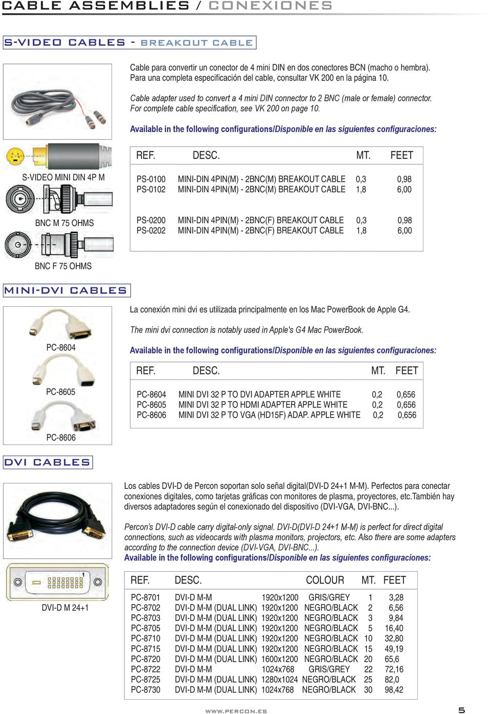 For complete cable specification, see VK 200 on page 10.