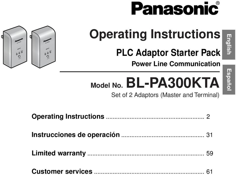 No. BL-PA300KTA Set of 2 Adaptors (Master and Terminal) Operating Instructions.